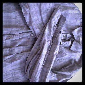 Grey LG long sleeve button down Calvin Klein pin